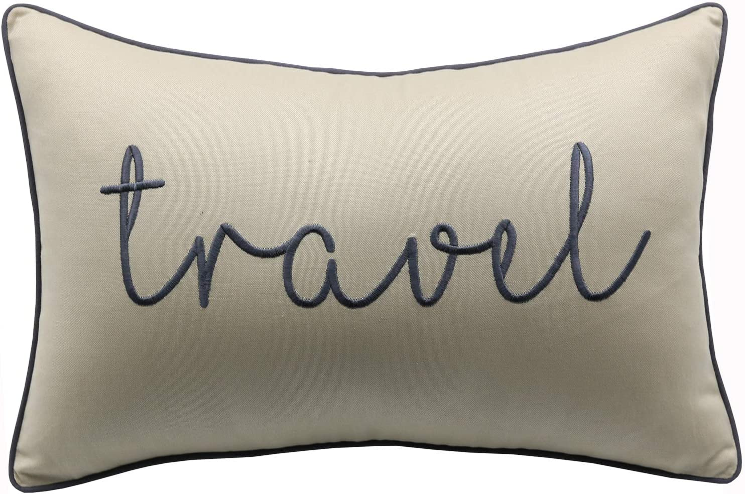 YugTex Travel Sentiment Cotton Embroidered Decorative Lumbar Accent Throw Pillow Cover - Gift for Traveler - 12x18 Inches, Natural