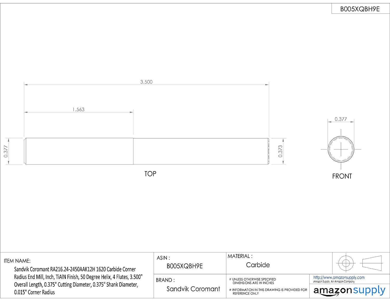 0.5 Shank Diameter Sandvik Coromant RA216.24 Carbide Corner Radius End Mill TiAlN Monolayer Finish 4.000 Overall Length 0.5 Cutting Diameter 4 Flutes 0.031 Corner Radius 50 Deg Helix