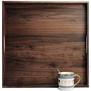 MAGIGO 19 x 19 Inches Large Square Black Walnut Wood Ottoman Tray with Handles, Serve Tea, Coffee or Breakfast in Bed, Classic Wooden Decorative Serving Tray
