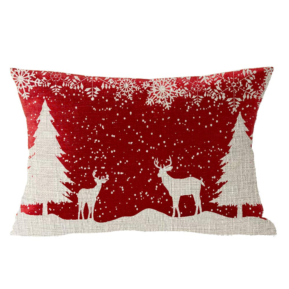 Happy Winter Snowflake Linen Pillow