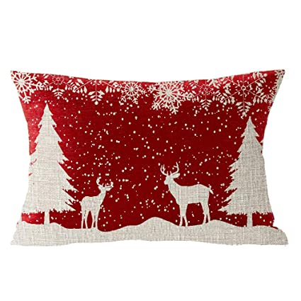 Happy Winter Snowflake Let It Snow Wild Animal Elk Merry Christmas Cotton Linen Square Throw Waist Pillow Case Decorative Cushion Cover Pillowcase Sofa Lumbar 12x20 inches best Christmas throw pillows