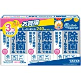 エリエール ウェットティッシュ 除菌 アルコールタイプ ボトル つめかえ用 240枚(80枚×3パック) 【まとめ買い】