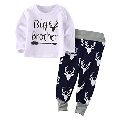 2pcs Baby Boy Girl Outfit Set Letter Printed Long-Sleeved T-Shirt + Deer Pattern Long Pant