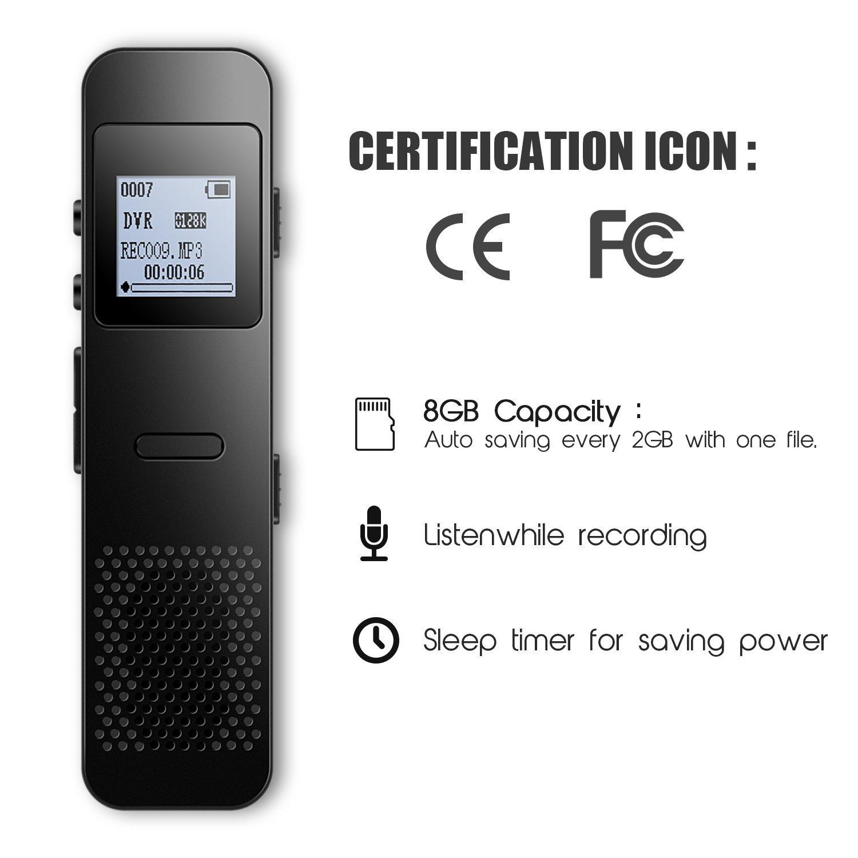 Grabadora de Voz Digital Portátil 8GB Recargable PCM 1536kbps con Función Altavoz y Mp3 para Entrevistas, Reuniones, Clases etc: Amazon.es: Electrónica