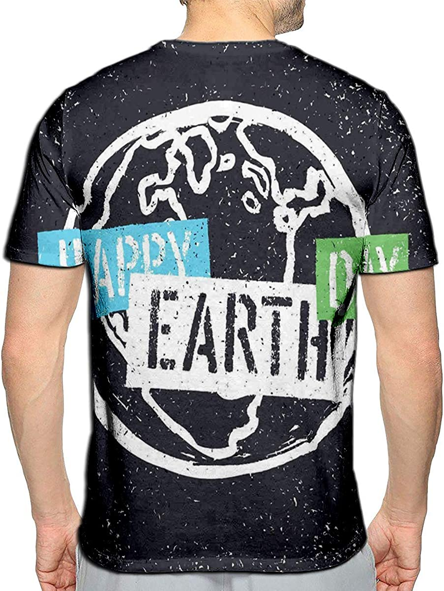 3D Printed T Shirts Happy Earth Day Grunge Earth Symbol Stencil Grunge Alphabet Casual Mens Hipster Top Tees