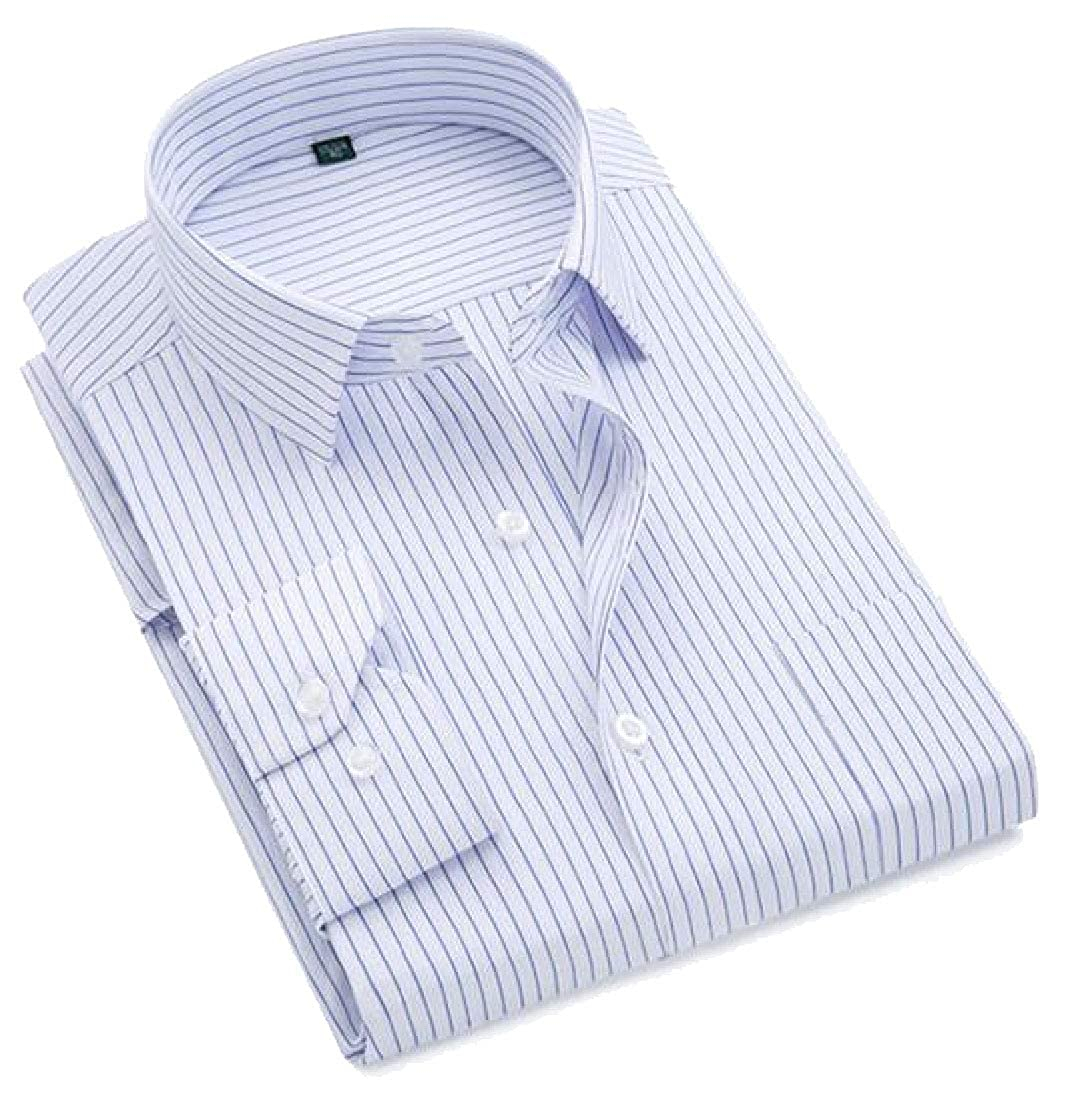 zhaoabao Mens Slim Fit Casual Long Sleeves Stripe Button Down Dress Shirts