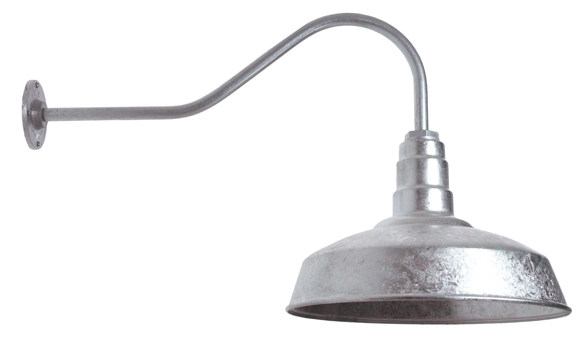 The ABBA Standard Barn Light Kit | Farmhouse Steel Vintage Shade and Gooseneck | 16 Inch Shade and 23 Inch Gooseneck (Galvanized)
