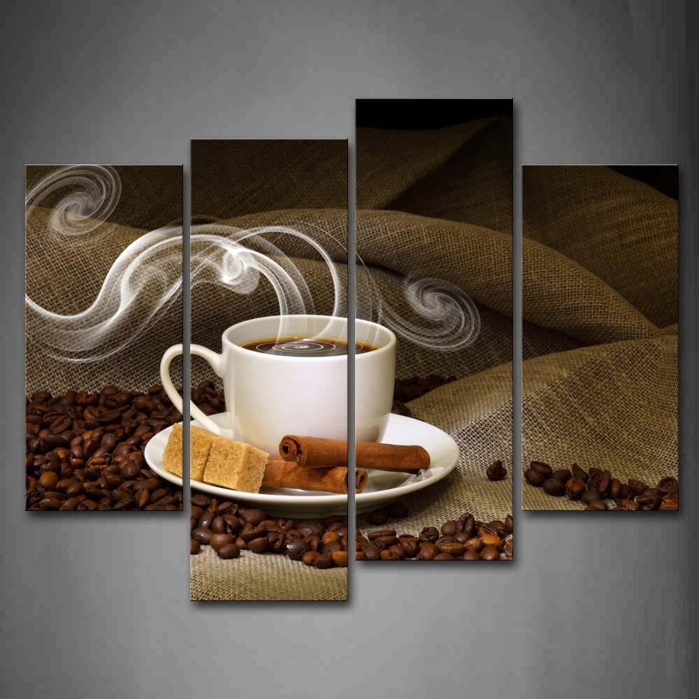 Brown a cup of coffee and coffee bean wall art painting for Mural coffee