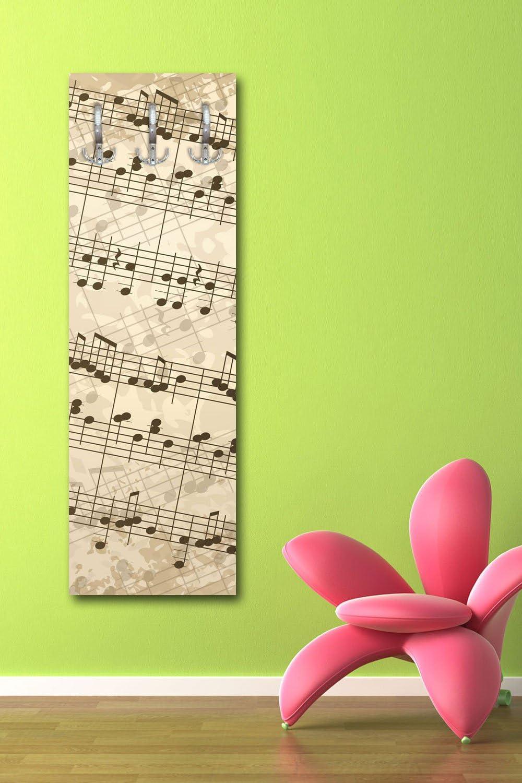 wandmotiv24 Porte-Manteau Note de Musique Note de Musique Musique G119/40/x 125/cm Porte-Manteau Mural PACHELBEL