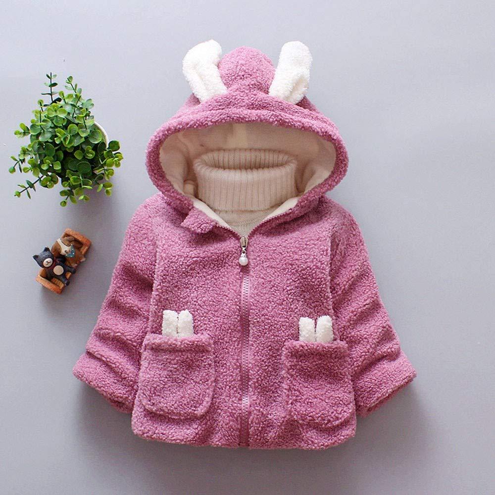FeiliandaJJ Baby M/ädchen Mit Kapuze Fleece Jacke S/äugling Kinder Winter Cute Kaninchenohr Zipper Dicke Warme Coat Mantel Outerwear