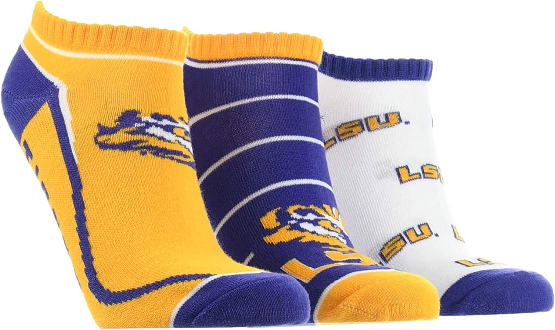 LSU Tigers No Show Socks Full Field 3 Pack