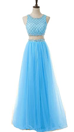 Prom Dresses Two Piece Long Tulle Beaded Bodice Prom Homecoming Party Dress A-Line