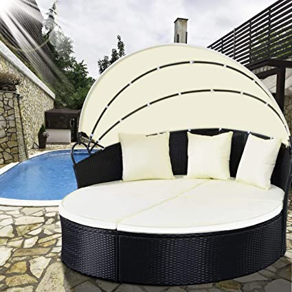 TANGKULA Patio Furniture Outdoor Lawn Backyard Poolside Garden Round  Retractable Canopy Wicker Rattan Round Daybed, - Amazon.com : TANGKULA Patio Furniture Outdoor Lawn Backyard Poolside