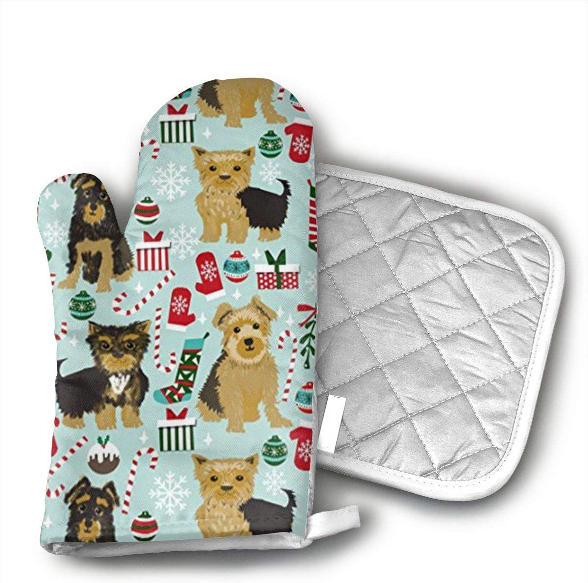 Sjiwqoj8 Cute Yorkie Christmas Kitchen Oven Mitts,Oven Mitts and Pot Holders,Heat Resistant with Quilted Cotton Lining,Cooking,Baking,Grilling,Barbecue