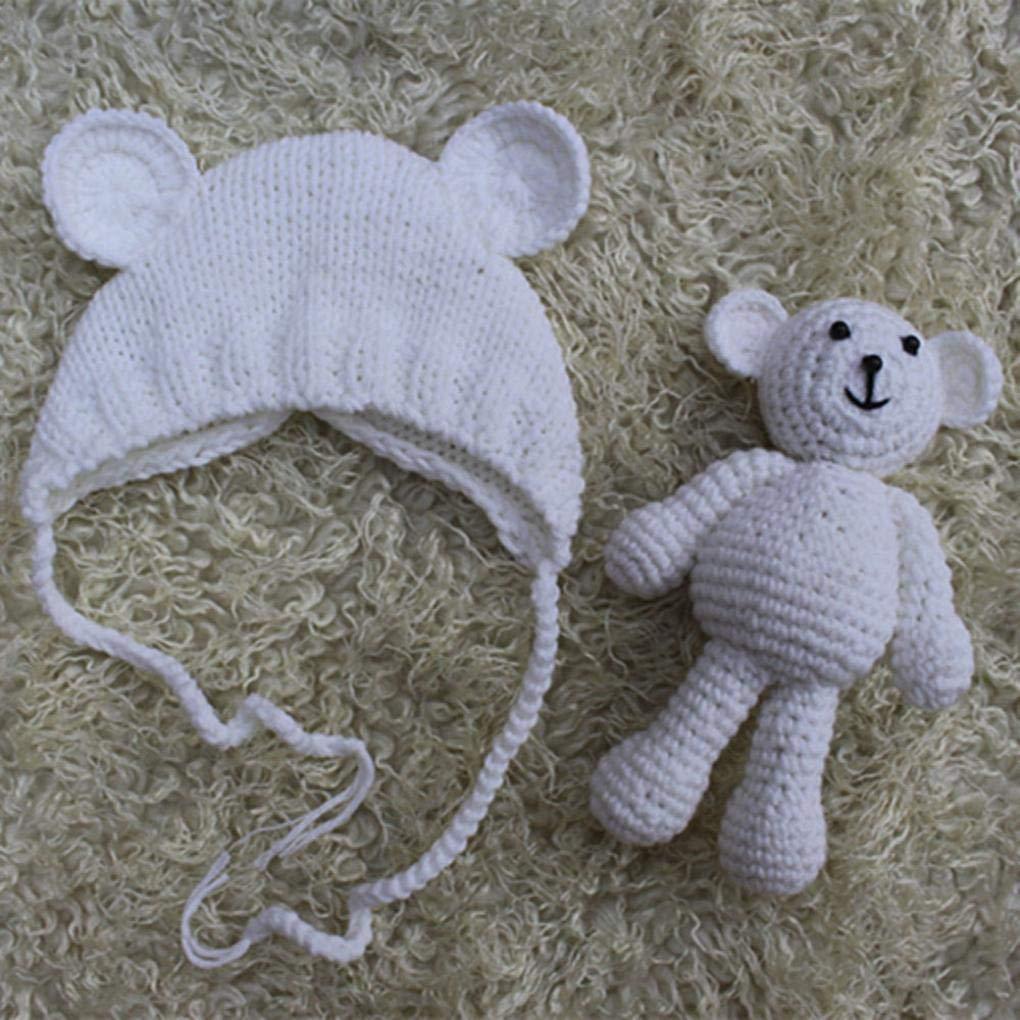 Teddyb/är Kost/üm Fotografie Requisiten FeiliandaJJ Neugeborene Hut Stretch Stricken Foto Baby Hut