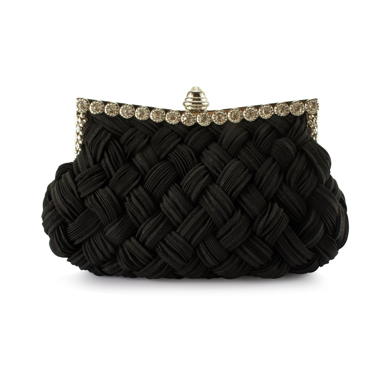 Fit & Wit Womens Pleated and Braided Evening Cocktail Wedding Party Handbag Clutch Purse Shoulder Bag - Black