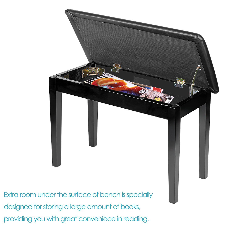 Neewer Banquette de piano en bois avec cuir rembourré Coussin pour un confort Deluxe et Build-in Flip-Top Assise de Compartiment de rangement supplémentaire pour la musique des livres et dautres accessoires noir 40087740