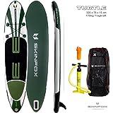 SKINFOX TESTSIEGER TURTLE DOUBLE-Layer SUP-Board CARBON-SET weiss-grün Paddelboard aufblasbares SUP 335x78x15; (175kg Tragkraft)