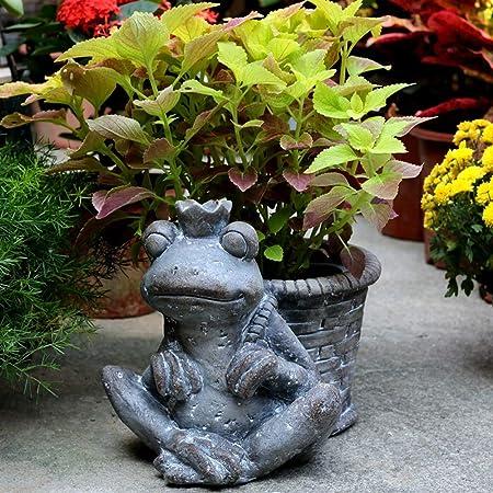 Figurines para jardín, Escultura patio Frog Prince Tiesto al aire libre del césped Villa Jardín Balcón paisaje Decoración Animal para Jardines en Miniatura (Color : Gris , tamaño : 38x27x25cm) : Amazon.es: Hogar