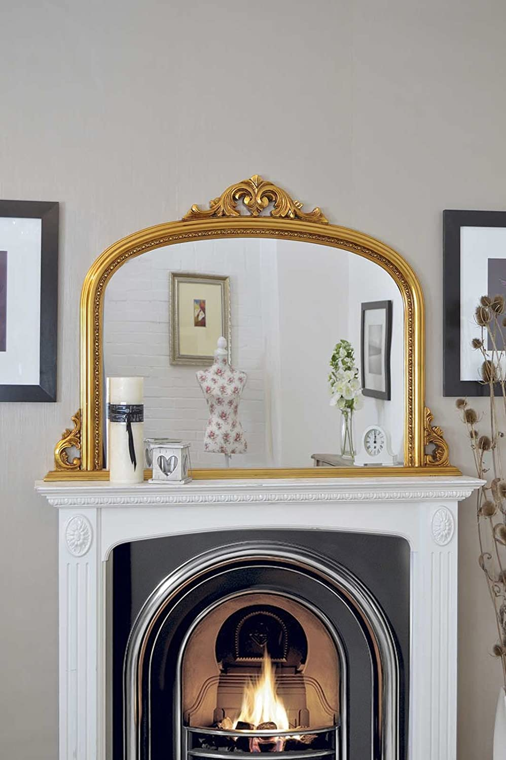 Classic French Inspired ANTIQUE GOLD ORNATE OVERMANTLE MIRROR Complete With Premium Quality Pilkingtons Glass