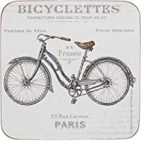 Creative Tops Cork-Backed Coasters Set with Printed 'Bicycles' Design, Square, White, 10.5 cm, Set of 6