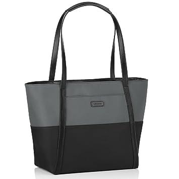 0c9e2ad45e0f8 CHICECO Color Block 14 Zoll Nylon Shopper Tasche Groß Damen Handtasche  Schwarz - 25.5cm Lange