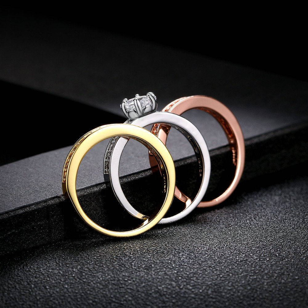 Double Fair 18K Gold Plated Tri-Color CZ Diamond 3pcs Wedding Bridal Band Stackable Eternity Rings Set for Women