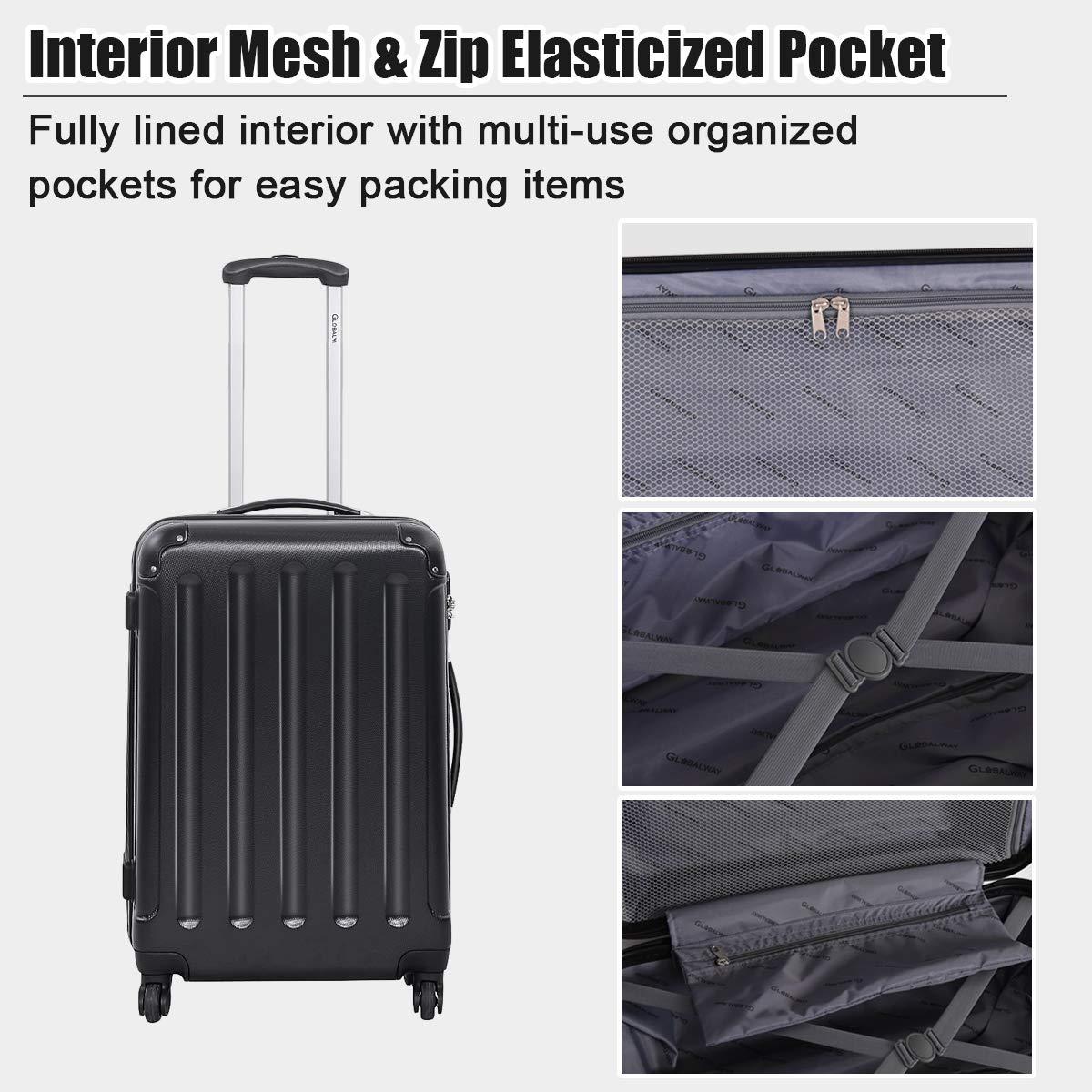 f521b6150 ... 3Pcs Luggage Set, Hardside Travel Rolling Suitcase, 20/24/28 Rolling  Luggage Upright, Hardshell Spinner Luggage Set with Telescoping Handle,  Coded Lock ...