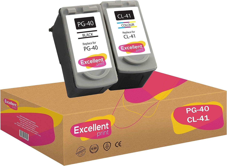 Excellent Print PG-40 CL-41 Compatible Cartuchos de Tinta para Canon Pixma MP470 MX300 iP1600 iP1800: Amazon.es: Electrónica