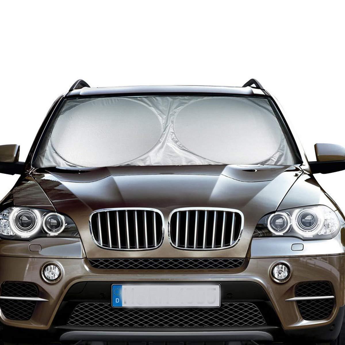 Pare-brise Avant ELUTO Pare-soleil de voiture Nylon 190T Universel Pliable et Imperméable Pare-brise Protection pour Anti Les Rayons UV et La Chaleur ARGENT (150 x 70cm)