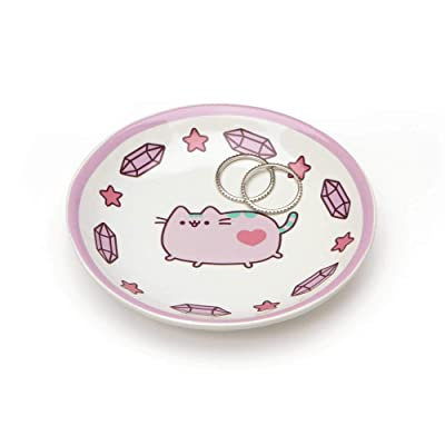 "Pusheen by Our Name is Mud ""Pusheen Purple Trinket Tray"" Stoneware Dish, 4 Inches: Toys & Games"