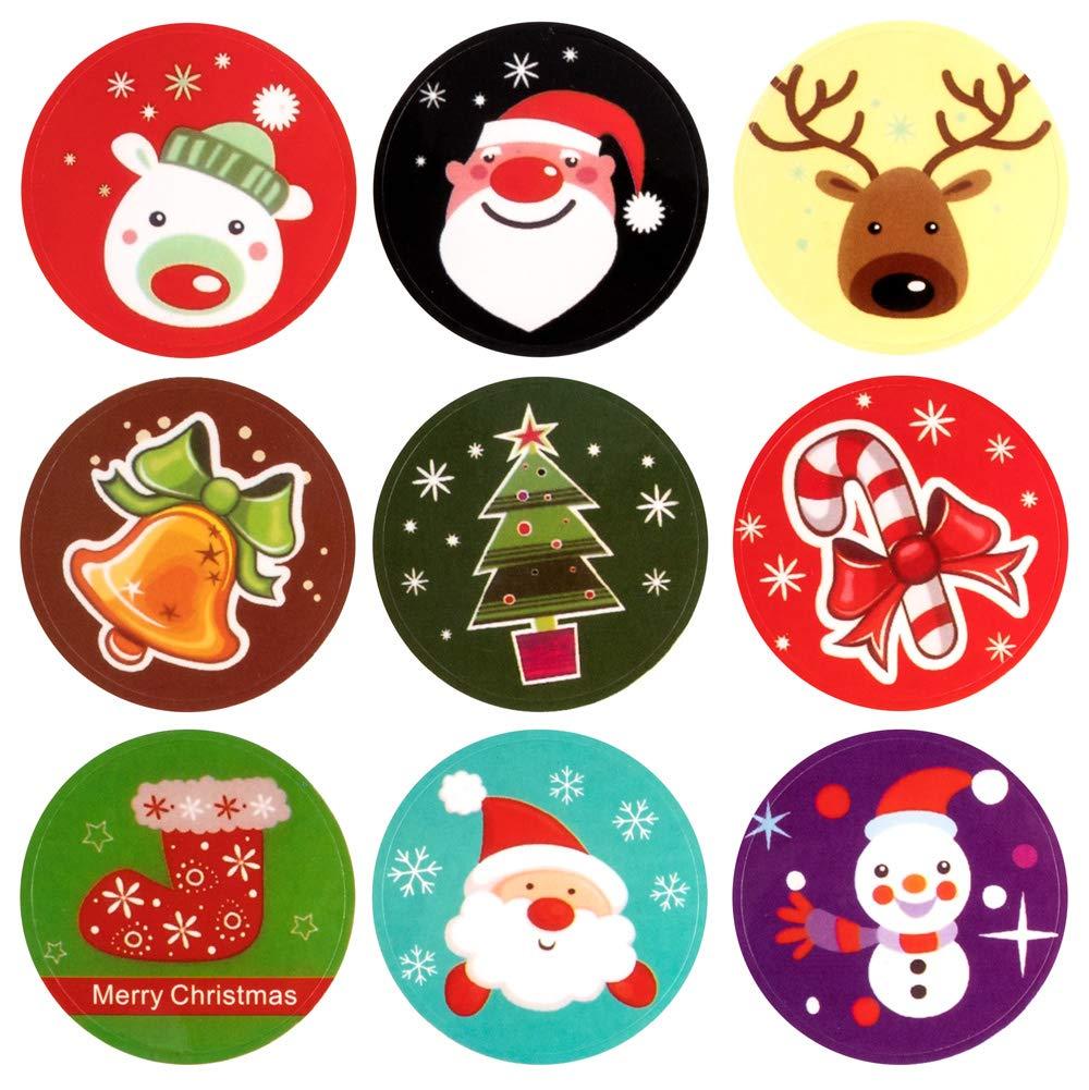 Adesivi Natalizi Stickers Decorazione, etichetta regalo natalizio Etichette autoadesiva Babbo Natale pupazzo di neve albero di natale cervo festa di natale festival compleanno di natale108 pezzi Vidillo