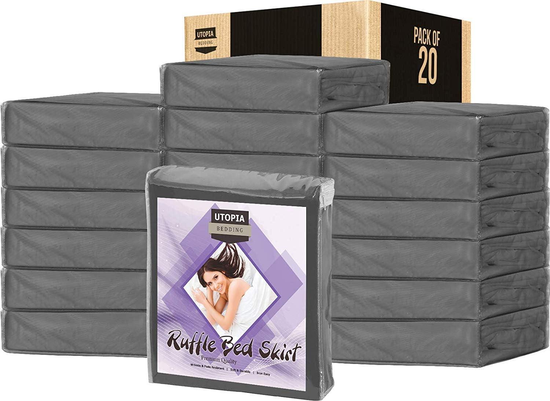 Utopia Bedding Queen Ruffle Bed Skirt,16 Inch Drop (Bulk Pack of 20 Grey, Queen)