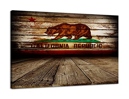 Urttiiyy American Flag California Republic Bear Vintage Wooden Wall Art Canvas Prints Thin Blue Red Line Home Decor Pictures For Living Room Bedroom