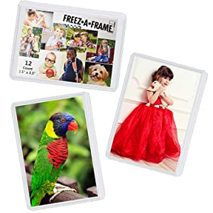 "12 Pack Magnetic Wallet Picture Frames Holds 2 1/2"" X 3 1/2"" Pocket Photo for Refrigerator by Freez-A-Frame Made in the USA"