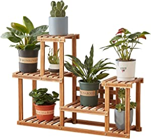Plant Stand,Homchwell Pine Wood Plant Stand Indoor Outdoor Multi Layer Flower Shelf Rack Higher and Lower Plant Holder for Patio Garden, Living Room, Corner Balcony and Bedroom (7-9Flowerpots)