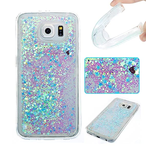 reputable site 0a60e 35816 Samsung S6 Edge Case,Cute [Blue Stars] 3D Creative Bling Sparkle Liquid  Quicksand Floating Flowing Glitter Design Soft TPU Gel Rubber Cover for ...