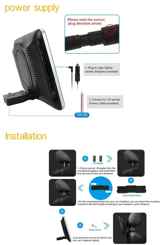 10.1 Inch HD 1024 x 600 HDMI USB SD IR/FM Ultra Thin Digital Touch Key LCD Screen Car DVD Player Headrest Monitor by Hengweili by Hengweili (Image #7)