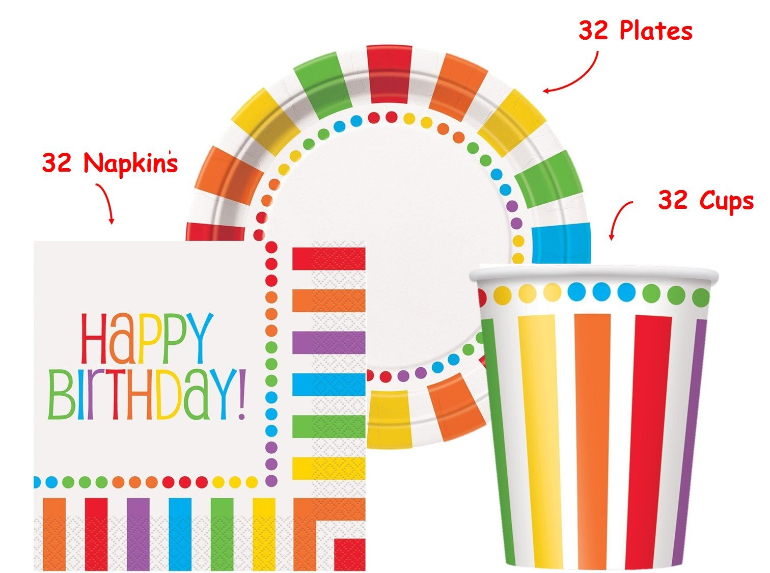 Kedudes Rainbow Birthday Party set Supplies for 32 guests - 32 Plates 9'', 32 Cups 9'' and 32 Napkins by kedudes