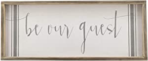 """Be Our Guest Wethered Wood Frame Wall Sign, Rustic Farmhouse Wood Wall Decor for Guest Room Enterway Kitchen,Dinning Room, 23.6"""" W x 1"""" D x 9.8"""" H"""