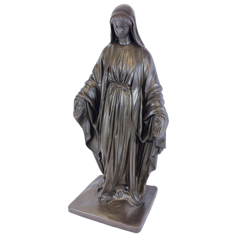 "Emsco Group 92290 Virgin Mary Statue – Natural Appearance – Made of Resin – Lightweight – 34"" Garden, BRONZE"