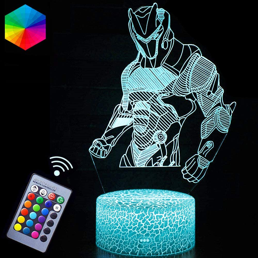 Omega Night Lights Lamp Fortress Battle Royale 3D Optical Illusion LED Lamps Remote Control & RGB Colors Birthday Xmas Festival Gifts for Boys Kids Room(Omega)