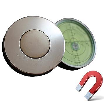 Boden-Wasserwaage Magnetische Gradangabe Metallgeh/äuse 60mm Durchmesser Gro/ße Metall-Wasserwaage mit Luftblase Fl/üssigkeit Gr/üner//Silber Dosenlibelle Bullseye