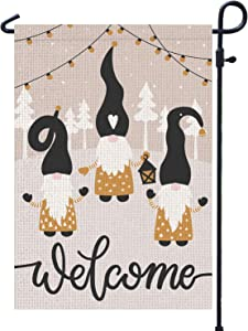 PAMBO Winter Welcome Gnome Garden Flag 12x18 Double Sided Burlap - Christmas Gnome Flag for Outside Yard Outdoor Decoration