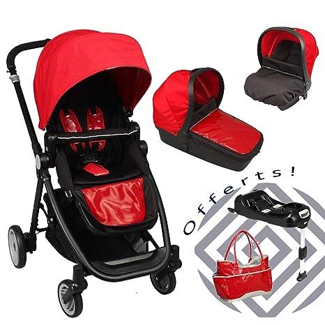 Cochecito Bebé 4 ruedas Reversible compuesto 3 en 1 + bolso cambiador