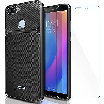 AROYI Funda Xiaomi Redmi 6 + Cristal Templado, Xiaomi Redmi 6 Carcasa & 1 Pack Protector de Pantalla 9H Dureza + Soft TPU Silicone Back Protective ...
