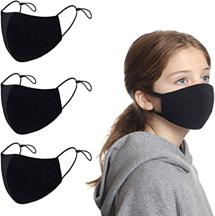 9pc Face Covers Air Filter Cotton Sheet Washable Reusable Face Protector with Adjustable Straps 9 Pcs, Black
