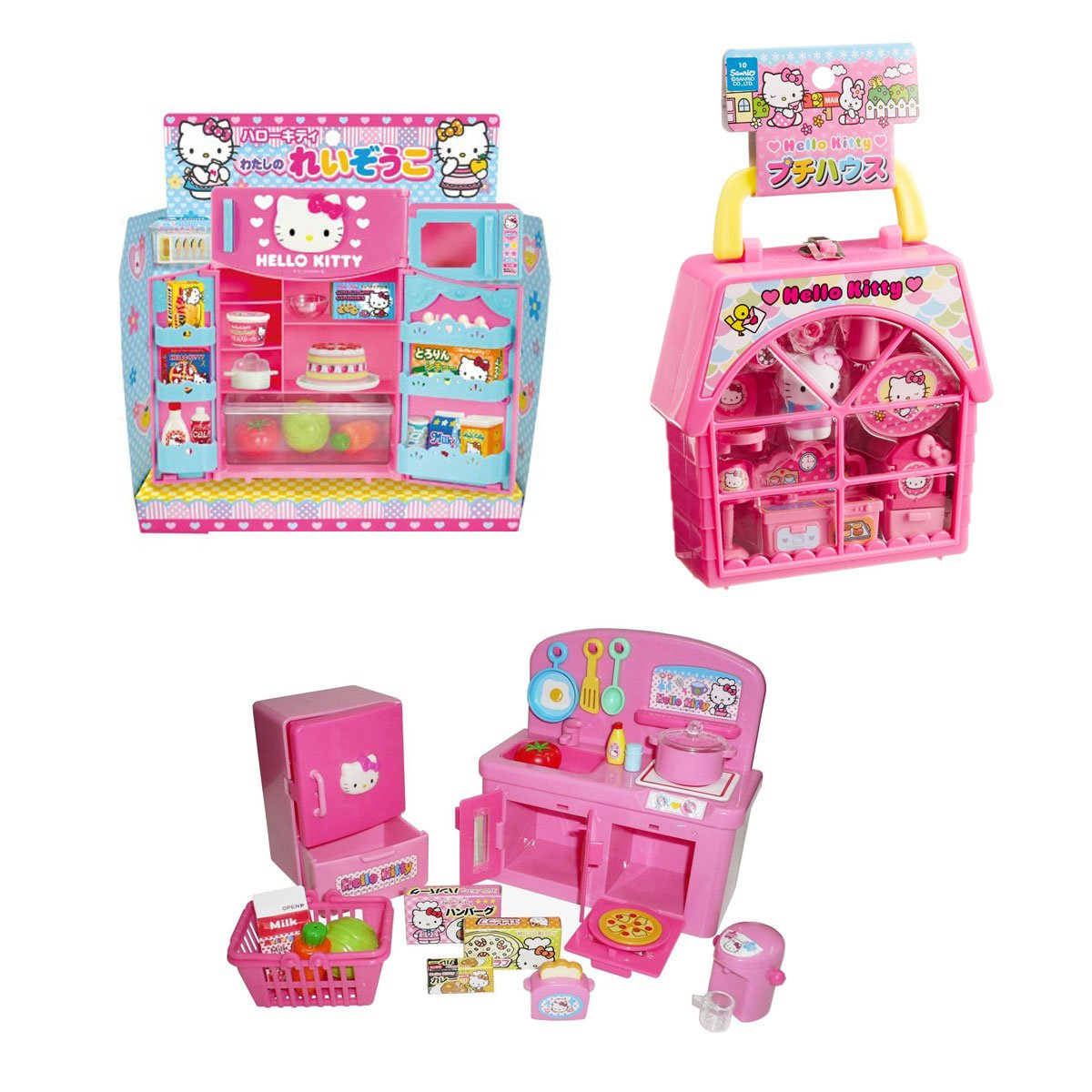 Hello Kitty 3 Unique Sets – Refrigerator, Kitchen and Petty House Play Sets (Japan Import)