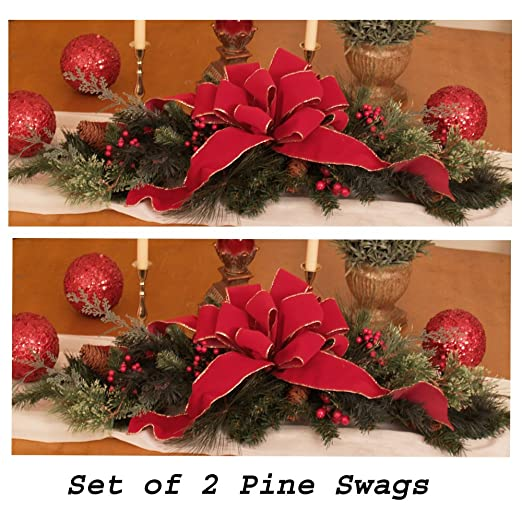 Christmas Tablescape Decor - Christmas Table Centerpiece Decorations CR1030-Set of 2 - Use the 2 sets to extend down the length of a large dining table.