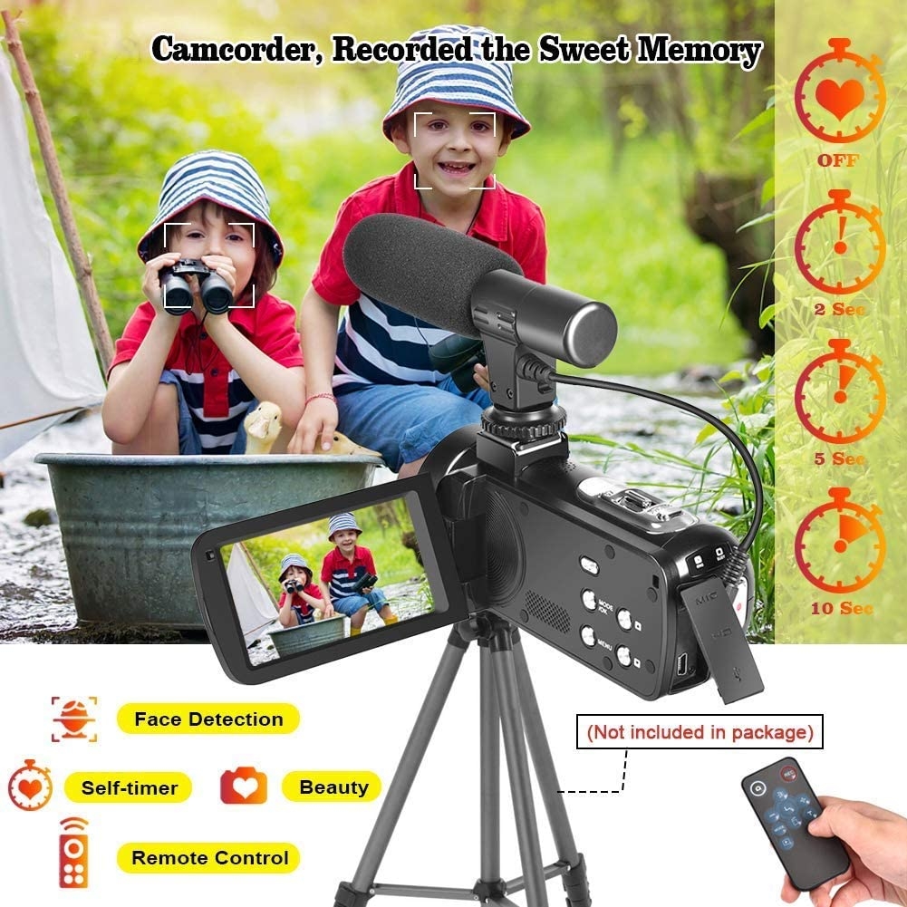 2.7K Camcorder Video Camera for YouTube 30MP Digital Camera Vlogging Camera with Microphone and Remoter